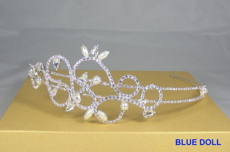 Cerchietto per capelli placcato argento con perle e cristalli Swarovski.