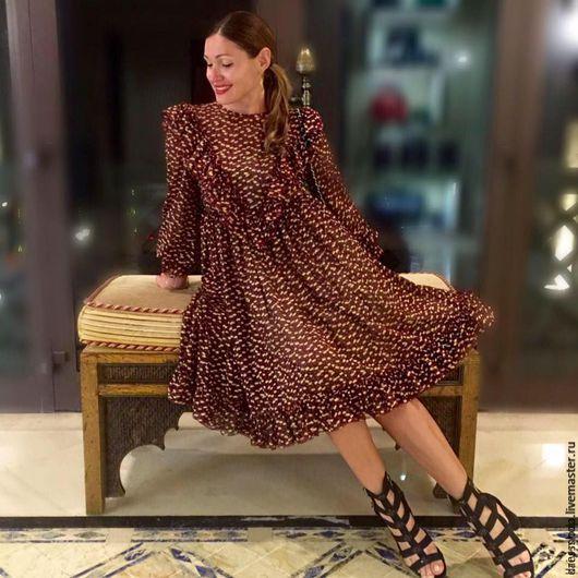 Платья ручной работы. Ярмарка Мастеров - ручная работа. Купить Шифоновое платье с оборками. Handmade. Комбинированный, шифон