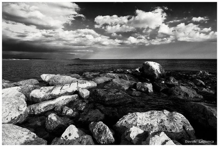 sea, landscape, black and white, monochrome