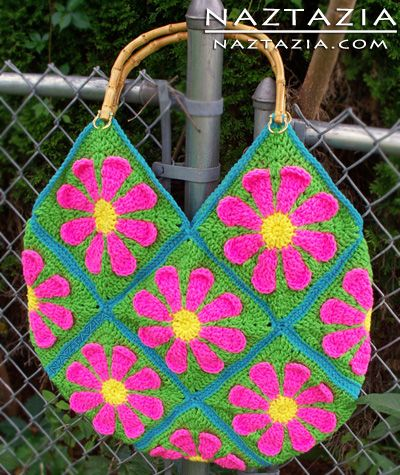 Free Pattern - Crochet Flower Purse Tote Bag