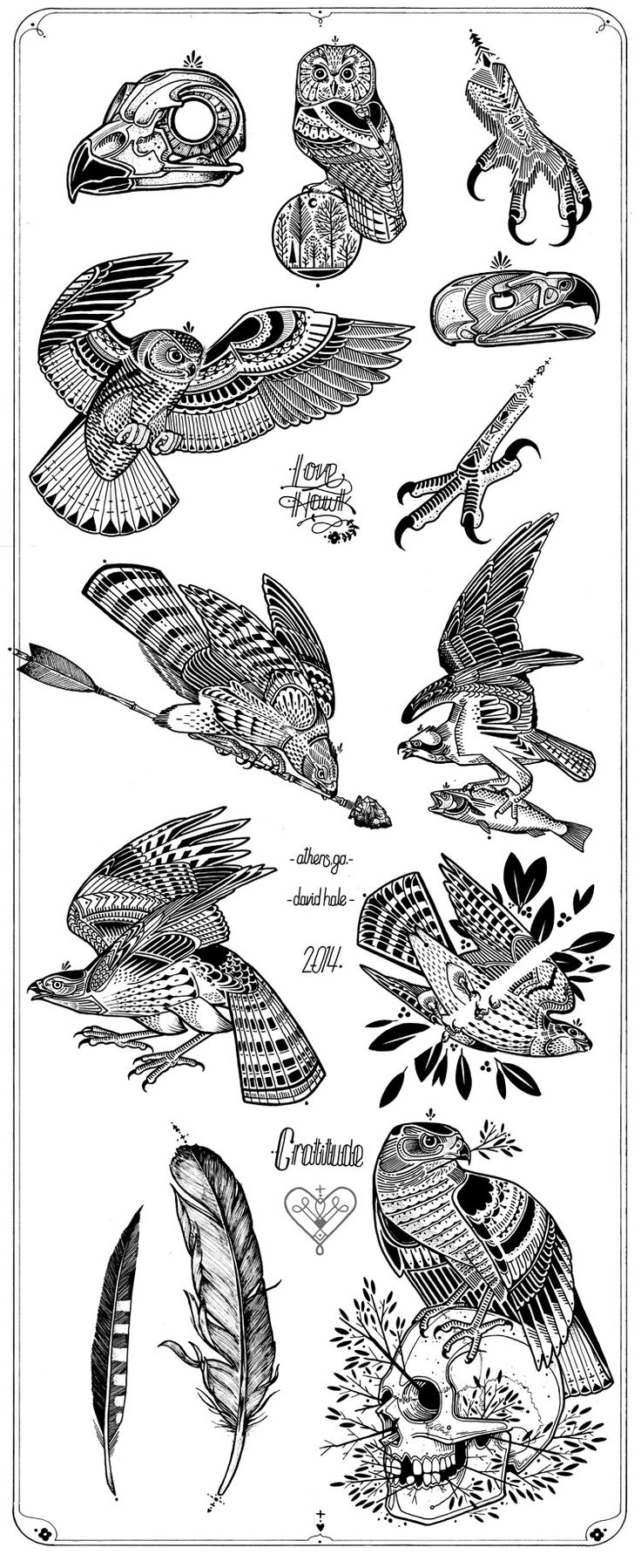 David Hale | Tattoo Design of the Month Love Hawk | #tattoo #style #hawktattoo #davidhale #lovehawk