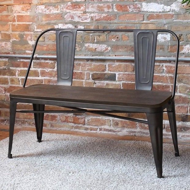 Oregon Metal and Wood Dining Bench $172.  Antique Farmhouse