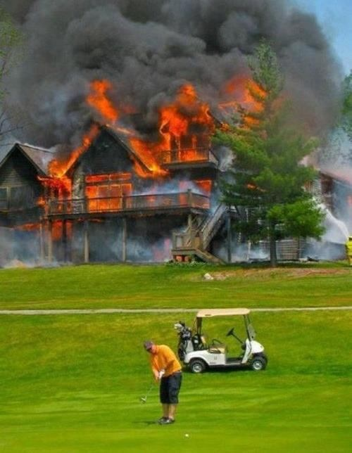 Cyrus told his wife he'd check the smoke detectors after his round of golf.