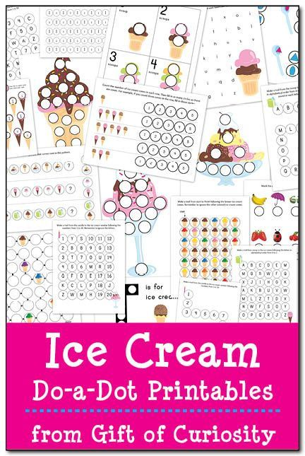 FREE Ice Cream Do-a-Dot Printables: 20 ice cream do-a-dot worksheets to help kids work on shapes, colors, one-to-one correspondence, letters & numbers. Yum! #DoADot #icecream    Gift of Curiosity