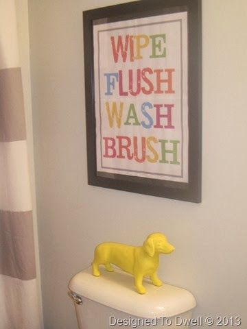 neutral kids bathroom | Neutral Gray Kids' Shared Bathroom.i want to do this with wooded letters on a canvas