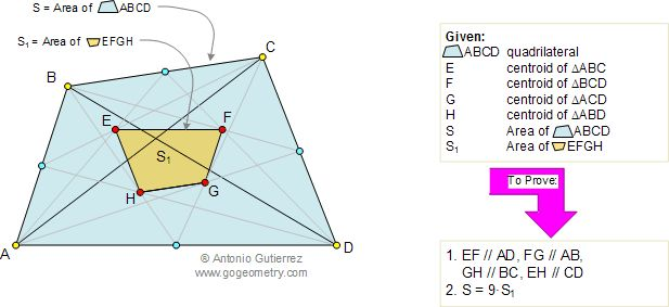 Geometry Problem 98: Quadrilateral, Trapezoid, Area, Centroid, Similarity. High School, College, Math Education, Teaching.