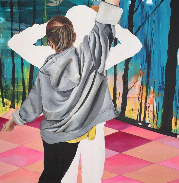 "Lisbeth Sahl ""Girl dancing in the wood"" 90X90CM"