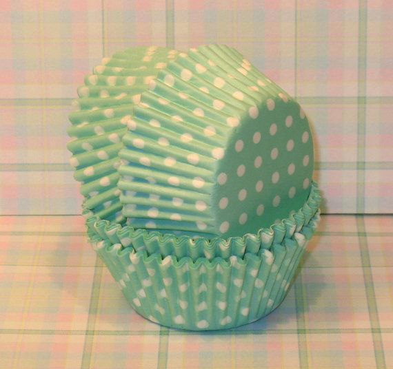 NewMint Green Polka Dots Cupcake Liners  45 by sweettreatssupplies, $3.35