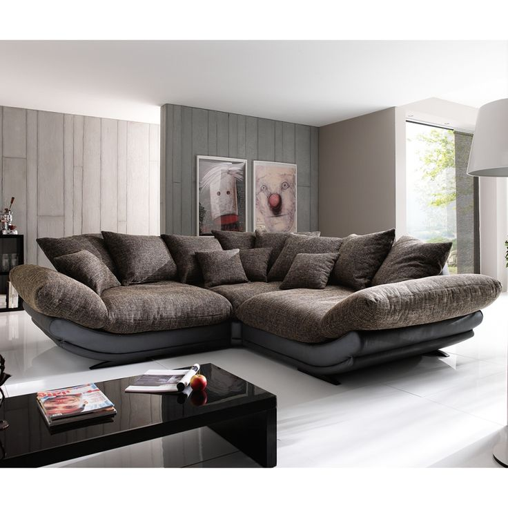 ecksofa tender kunstleder schwarz stoff braun meliert fashion pinterest. Black Bedroom Furniture Sets. Home Design Ideas
