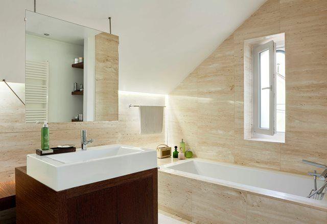 Bathroom stone walls, how to take advantage of low ceilings, #Bathroom #lowceilings #stonewalls