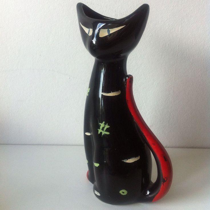 Vintage 1950s Tigris Cat Vase West German Schmider Just