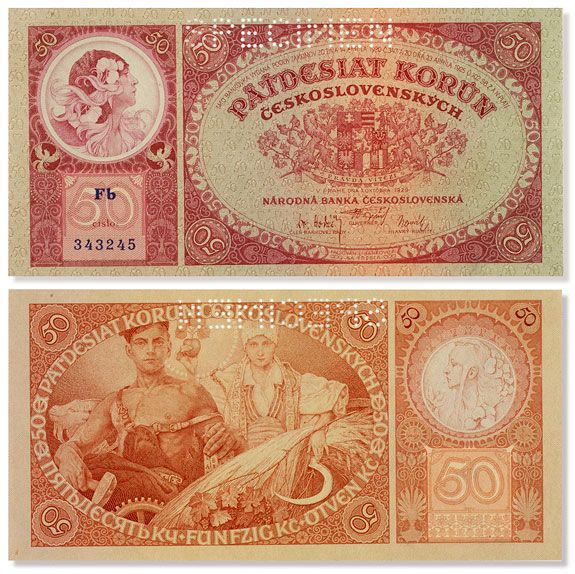 Nation State of Czechoslovakia. The front and back of the 50 korun note, designed by Mucha (image: Princeton University)