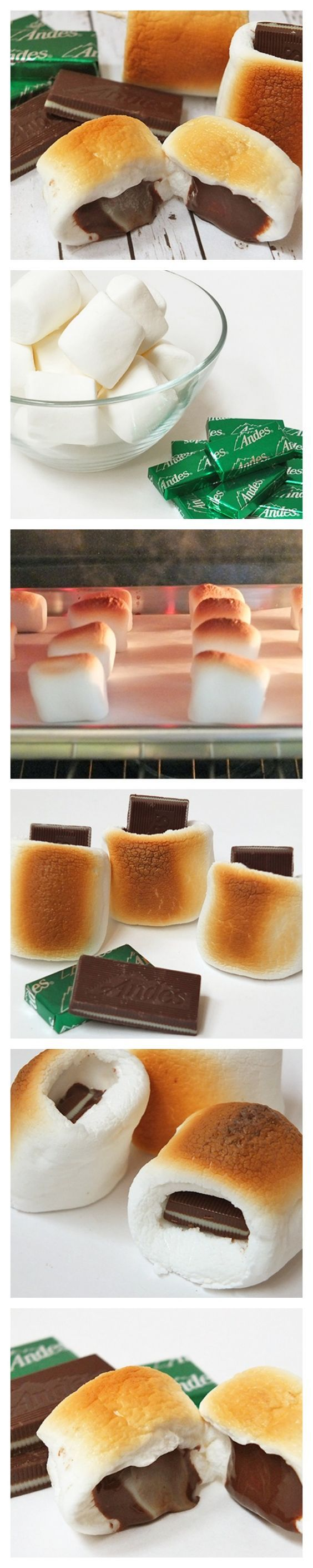 Toasted marshmallows with a minty, melty chocolate center! OMG this is like 5 pounds waiting to happen.