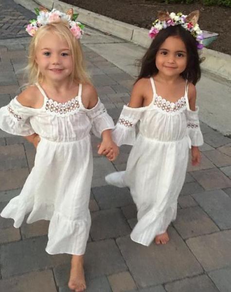 Girls White Over the Shoulder Bohemian Style Dress, Toddlers, Girls Boho Summer Dress, Beach Dress, Wedding, Flower Girl Dress, Sizes 1, 2, 3, 4, 5, 6