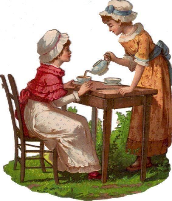 Larger Victorian Die Cut Scrap Girls have Tea Party c1880