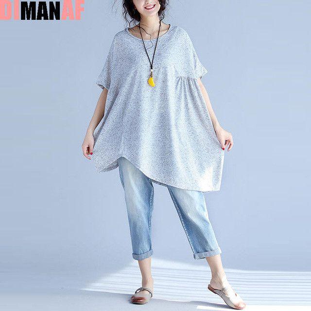 DIMANAF Women T-Shirt Plus Size Summer Linen Solid Batwing Female Fashion Loose Large Size Elegant Tops&Tees Black Grey Blue