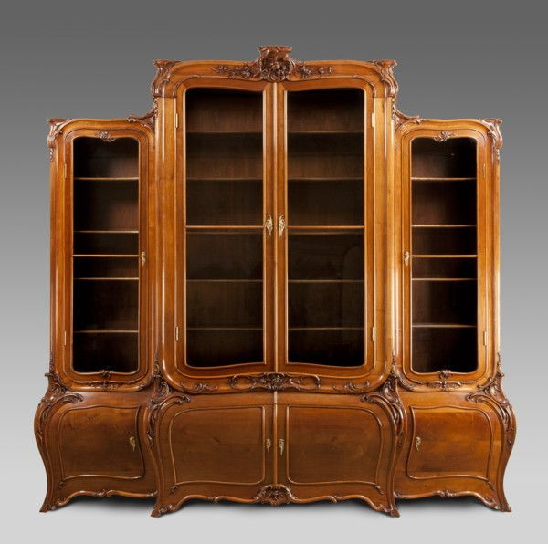 Antique Art Nouveau walnut bookcase