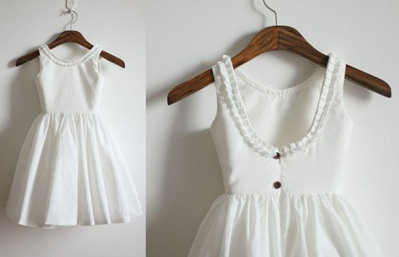 Vintage Inspired Ivory Cotton Flower Girl Dress Baby Girl Toddler Dress with Buttons on Etsy, $39.99
