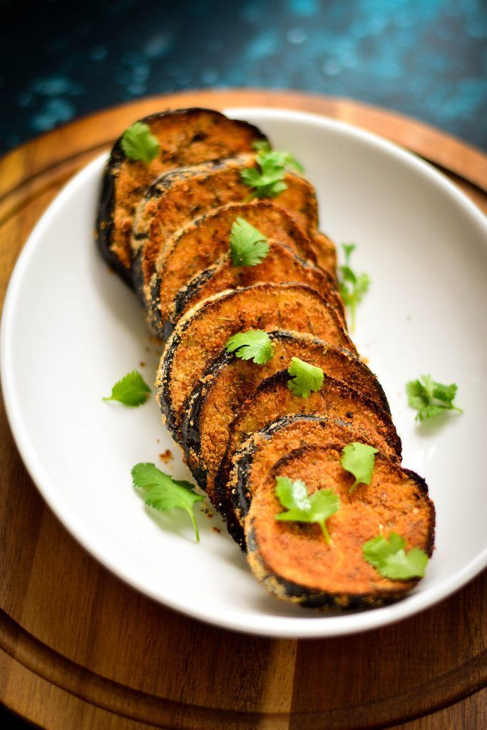 Crispy Baked Eggplant Slices - perfectly breaded, flavored and spiced and BAKED! A wonderful side to go along with LEAN CUISINE®️️ Marketplace Spicy Penne Arrabbiata!