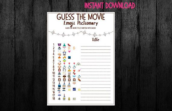 Guess the Movie! Emojii pictionary! Bridal shower game!  Hen party game!  Bachelorette game!  #Emoji #pictionary #emojipictionary