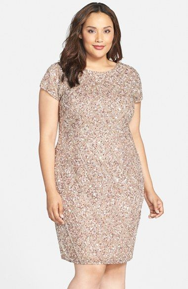 Adrianna+Papell+Embellished+Short+Sleeve+Cocktail+Dress+(Plus+Size)+available+at+#Nordstrom