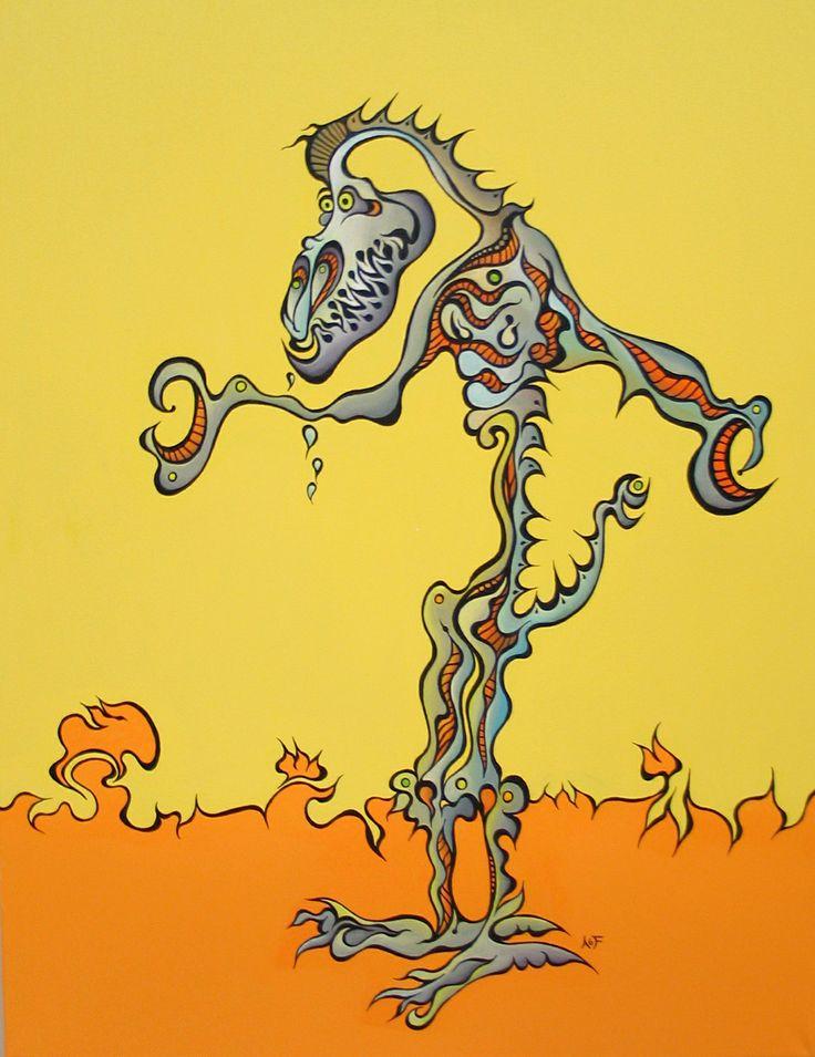 Gilamon.   Original art by Amy Ferrari.    Acrylic on Canvas.