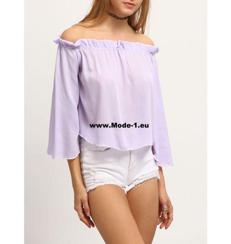 Damen Sommer Shirt Flieder Schulterfrei