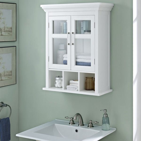 WYNDENHALL Hayes Two Door Bathroom Wall Cabinet with Cubbies in White. Best 25  Bathroom wall cabinets ideas only on Pinterest   Wall