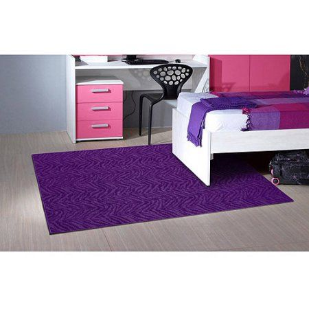 Garland Zebra Patterned Woven Olefin Area Rug, Purple
