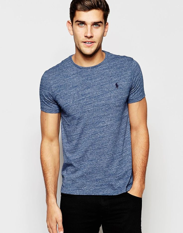 Polo+Ralph+Lauren+T-Shirt+with+Polo+Player+Logo+In+Blue+Marl
