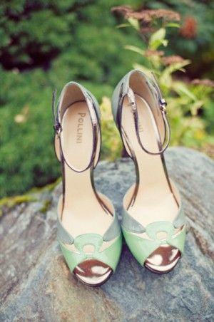 Green-Vintage-Pollini-Wedding-Shoes