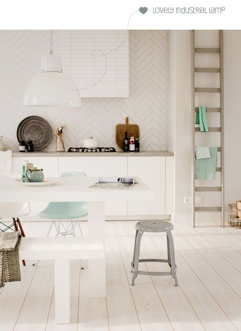 kitchen inspiration ... love the tiles, the white lamp, the white table, the green chair ... ahhh!