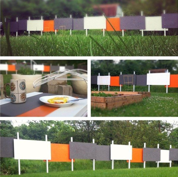 un design inhabituel de clôture en chavalets de peinture
