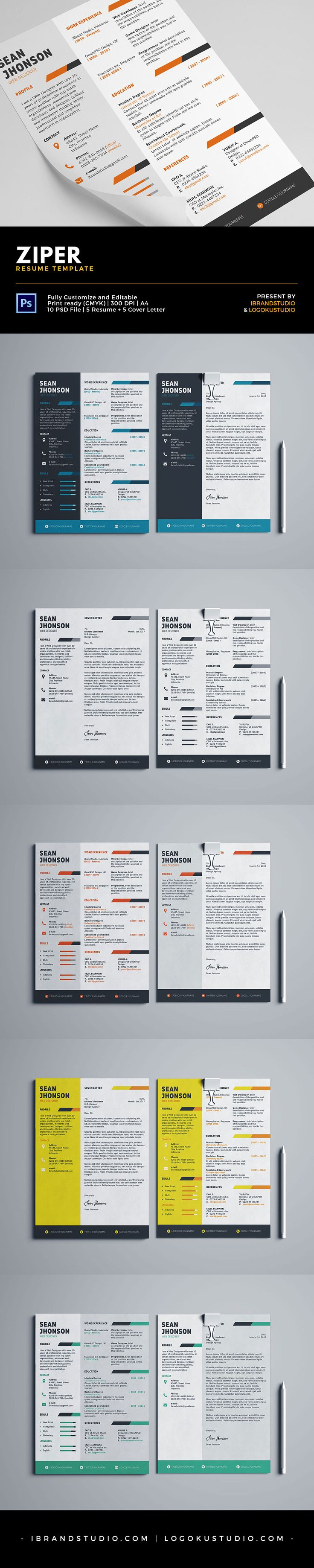 free ziper resume template and cover letter 5 styles psd