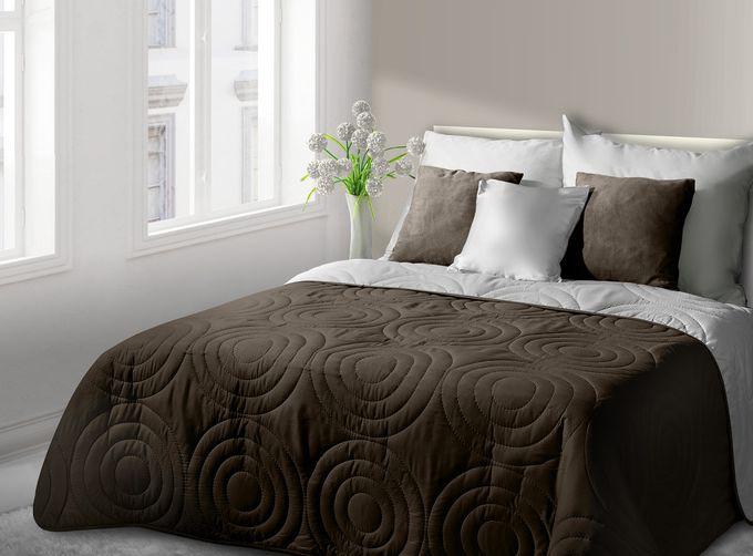 Elegancka brązowo biała narzuta na łóżko tłoczona