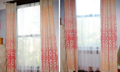 ikat stencil diy tutorial painting drapes curtains fabric canvas