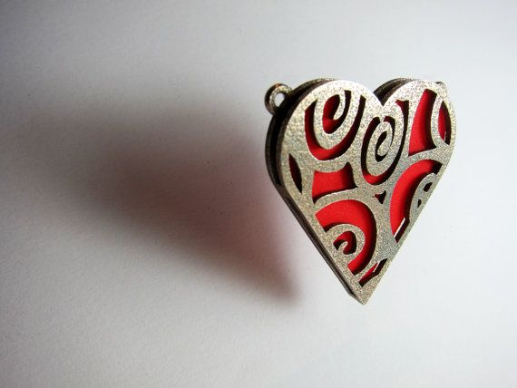 Coloured Heart necklace Pendant 3D printed by FacetiousDesigns