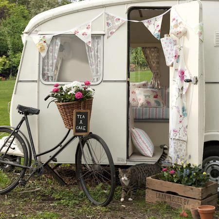 a little vintage camper, bike & basket, gorgeous little bunting... looks like a pretty place for a kick back xx