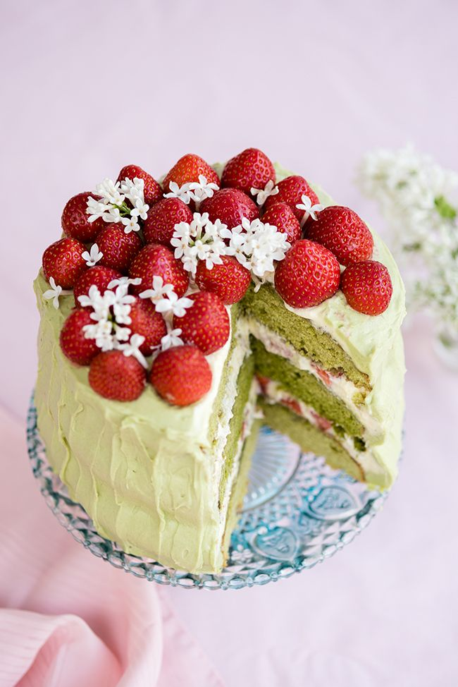 Matcha and Strawberry Layer Cake with Mascarpone Filling | Supergolden Bakes