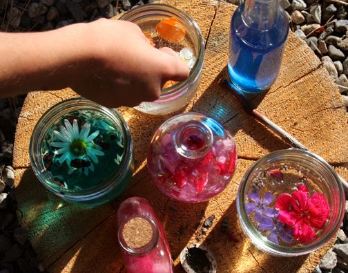 Petal potions- Ivy loves doing a version of this at my parents' house at the beach using stuff she finds in their yard