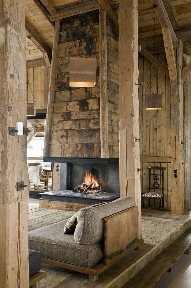 Love this rustic, cabin living room.