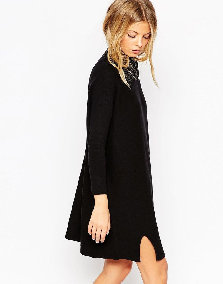ASOS+Tunic+Dress+In+Knit+With+High+Neck+In+Cashmere+Mix