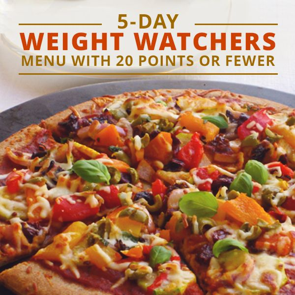 5- Day Weight Watchers Menu with 20 Points or Fewer. #wwpointsplus #wwpreviouspoints
