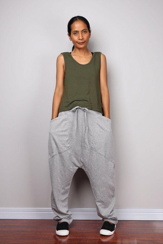 Grey pants, low crotch pants, grey trousers, grey harem pants