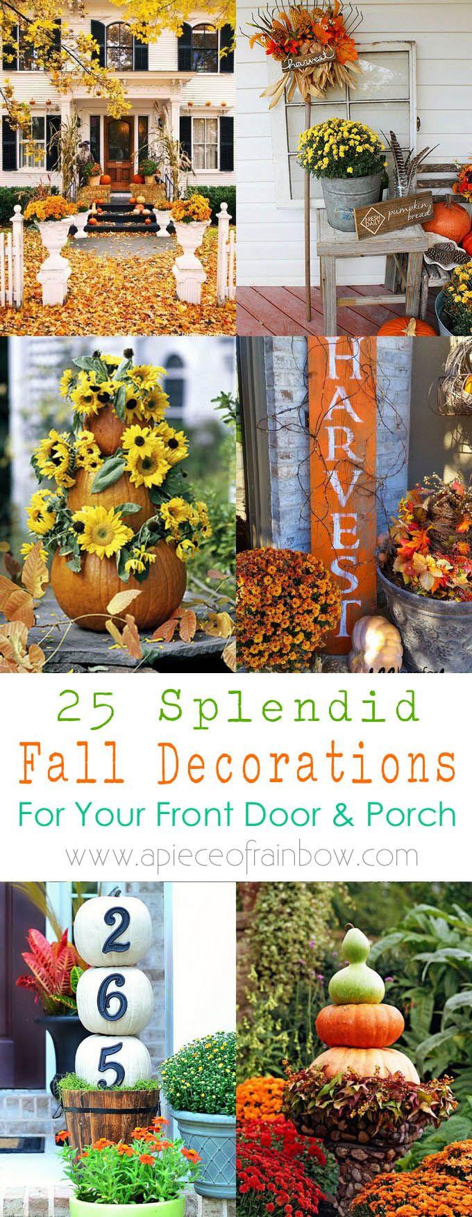 Door hanger fall front door decoration pumpkin door decoration - 25 Splendid Front Door Diy Fall Decorations