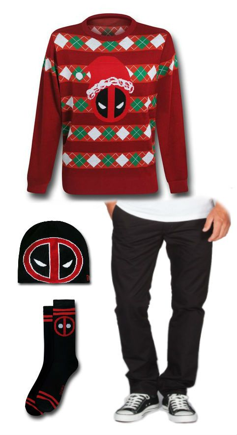 Ugly Deadpool Outfit by Danielle. Beanie: http://www.superherostuff.com/deadpool/beanies/deadpool-symbol-reversible-beanie.html?itemcd=beandpreverse&utm_source=pinterest&utm_medium=social&utm_campaign=featuredoutfit Pants: http://www.tillys.com/tillys/product/LEVI'S-511-Mens-Slim-Trousers/220465100 Socks http://www.superherostuff.com/deadpool/socks/deadpool-symbol-black-crew-socks.html?itemcd=footdpsymsk&utm_source=pinterest&utm_medium=social&utm_campaign=featuredoutfit