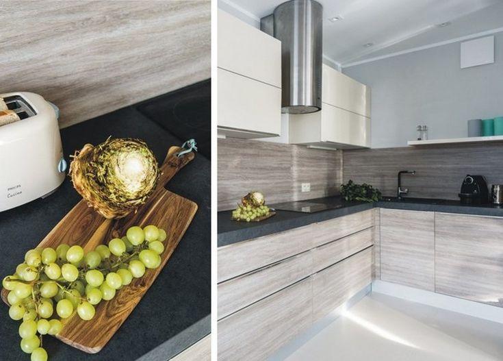 Arbeitsplatten Für Die Küche Ideen Schwarz Kunststein Holzdekor Fronten  Vergraut