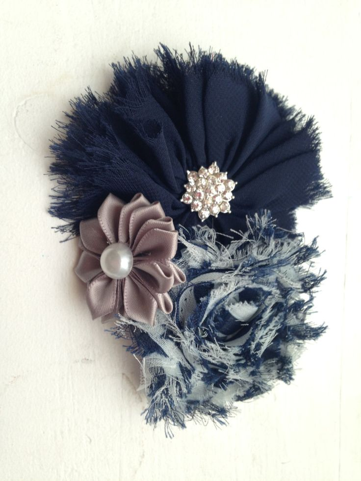 New to LaBellaRoseBoutique on Etsy: Navy grey clip gray navy ivory chiffon satin flowers on Clip cream baby toddler child teen women wedding flower girl pictures family gift (7.99 USD)