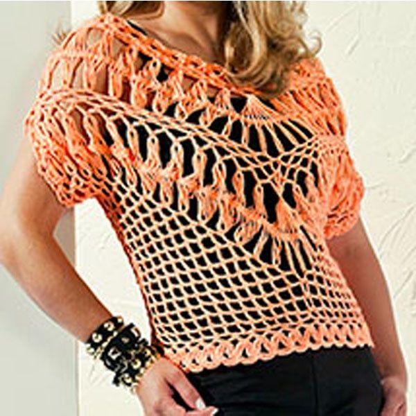 Blusa em croche de grampo, confeccionada na linha Camila Fashion em cores variadas. Tamanho 44, podendo ser feito sob encomenda em qualquer manequim. *Preço do anuncio para tamanho 44
