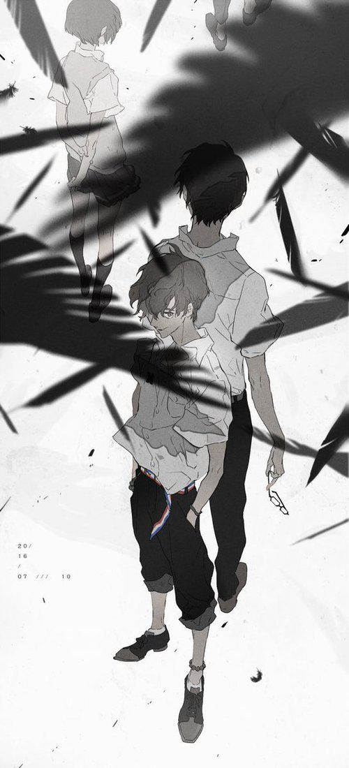 Twelve, Nine and Lisa surrounded by crows | Zankyou no Terror☆